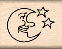 Moon & Stars Rubber Stamp