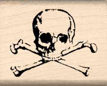 Skull and Crossbones Rubber Stamp