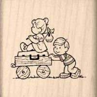 Boy & Girl moving Rubber Stamp