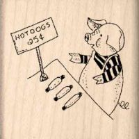 Hot Dogs/Pig Rubber Stamp