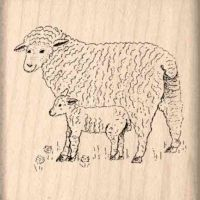 Sheep and Lamb Rubber Stamp