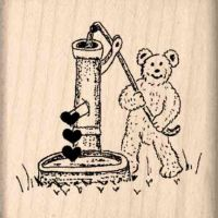 Bear/Well/Hearts Rubber Stamp