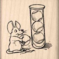 Mouse/Tennis Rubber Stamp