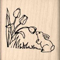 Tulips/Bunny Rubber Stamp