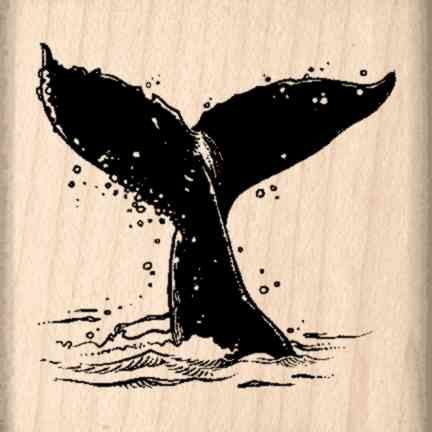 Whale Flukes Rubber Stamp