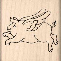 Pigs Fly Rubber Stamp