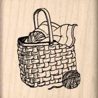 Knitting Basket Rubber Stamp