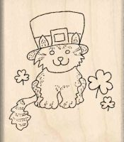 St. Patrick Cat Rubber Stamp