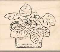Flower Pot Rubber Stamp