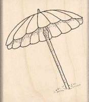 Beach Umbrella Rubber Stamp