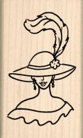 Red Hat Lady Rubber Stamp