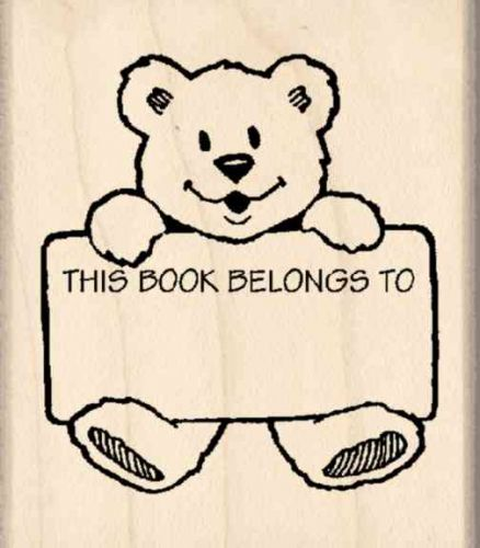 This Book Belongs To: Bookplate Rubber Stamp