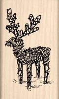 Reindeer Lawn Ornament Christmas Rubber Stamp