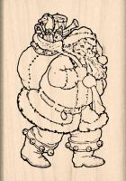 Santa Christmas Rubber Stamp
