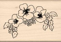 Pansy Border Rubber Stamp