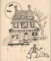 Haunted House Halloween Rubber Stamp