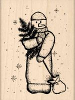 Snowman Christmas Rubber Stamp