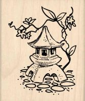 Japanese Lantern Garden Ornament Rubber Stamp