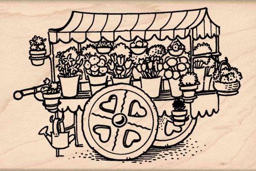 Garden Cart Rubber Stamp