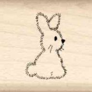 Fuzzy Bunny Little Rubber Stamp
