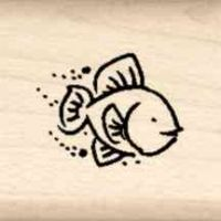 Fish Little Rubber Stamp